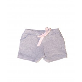 Short molleton gris et noeud rose