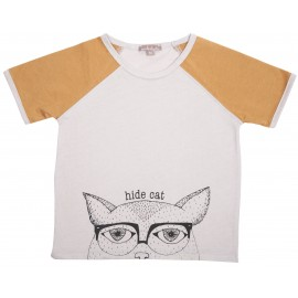TEE SHIRT COL ROND SABLE HIDE CAT