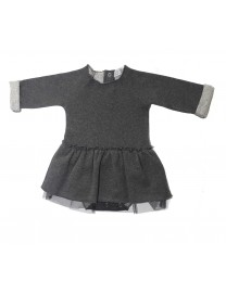 ROBE BODY LAORA PEPPER BLACK MOLLETON TULLE