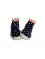 CHAUSSONS CHAUSSETTES MARINE A POIS