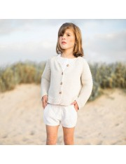 Cardigan tricot grosse maille beige