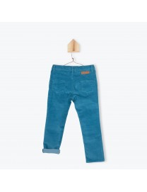 PANTALON VELOURS BLEU PETROLE