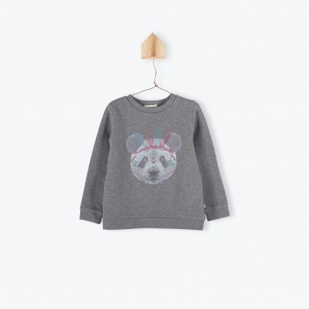 SWEAT MOLLETON PANDA GRIS CHINE