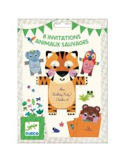 8 INVITATIONS ANIMAUX SAUVAGES